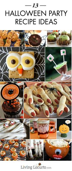 These 13 Halloween Party Recipe Ideas will put your guests in a festive mood! Here, you'll find such treats as Mummy Pizza Bites, Caramel Apples and Mummy-Wrapped Hot Dogs.