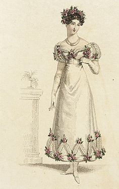 La Belle Assemblee, Parisian Ball Dress, May 1820.  I want to go to a Parisian Ball!  The rose trim is so sweet…