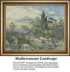 Vintage Cross Stitch Patterns | Mediterranean Landscape, Nostalgic  Counted Cross Stitch Pattern. Vintage cross stitch pattern, Kit and Digital Download