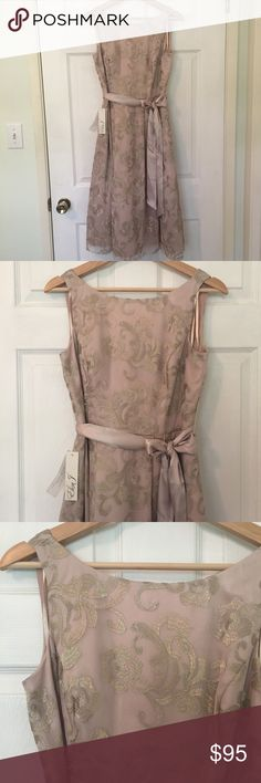 """NWT. Eliza J Gown NWT. Eliza J Semi-Formal/Formal Gown. New. Never Worn. Perfect Condition. No Flaws. Bust: 16"""". Waist: 14"""". Length: 42"""" Tea Length. Nude Base with Gold Overlay with Lovely Shimmer. Fully Lined. Hidden Zipper. V Back. Modest Scoop Neck. Satin Tie Sash at Waist. 3 Layers in the Full Skirt including 1 Layer of Tulle for a Bit of Volume but Not too much. Wonderful Cocktail Dress for a Wedding or Prom. Simply Stunning ✨ Eliza J Dresses"""