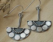 half round tribal earrings, hand forged, sterling silver, simple earrings, made to order