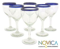 Wine goblets, 'Blue Can-Cun' (set of 6) at The Animal Rescue Site
