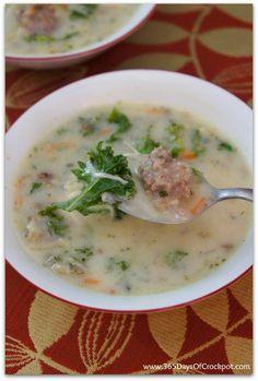 Slow Cooker Parmesan, Sausage and Kale Soup