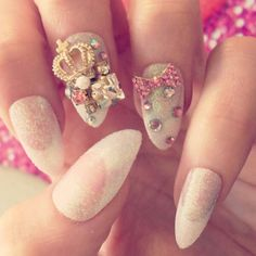 3D stiletto nails!  Rhinestones crown white! Gorgeous nails!
