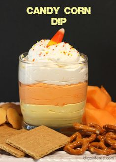 All Candy Corn Dip. All the fun of a fall favorite candy in a creamy white chocolate cheesecake dip! Get the graham crackers and fruit ready and dig in! Cheesecake Dip, Chocolate Cheesecake, Dessert Dips, Dessert Recipes, Dessert Party, Fruit Party, Recipes Dinner, Breakfast Recipes, Fall Recipes