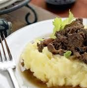 Reindeer with mashed potatoes, lingonberries and pickles. This traditional dish is from Lapland.