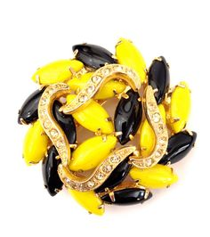 Vintage Juliana D&E Black and Yellow Brooch by Vintageimagine, $105.00