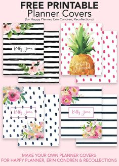 Make your own planner covers with our free printable planner cover templates. You can customize our planner covers using our free customizer. Free Printable Stationery, Free Printable Banner, Printable Planner, Planner Stickers, Free Printables, Printable Binder Covers Free, Happy Planner Cover, Free Planner, Planner Covers