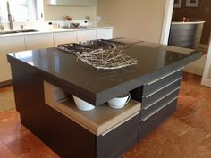 Image result for modern kitchen counter tops Modern Kitchen Counters, Kitchen Countertops, Kitchen Cabinets, Diy Design, Kitchen Design, Dining Table, Storage, Counter Tops, Furniture