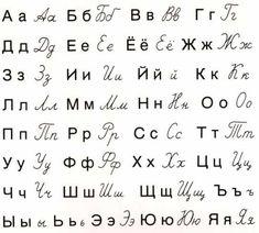 ALPHABET russe cyrillique Lettres russes manuscrites