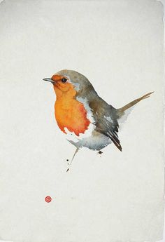 Karl Martens Robin II (Unframed) Signed Watercolour on Indian hand-made paper 22 x 15 in x Watercolor Artists, Watercolor Bird, Watercolor Paintings, Painting & Drawing, Watercolor Portraits, Watercolor Landscape, Abstract Paintings, Abstract Landscape, Blog Art