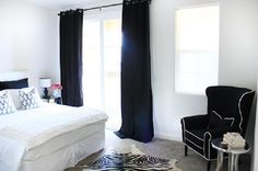 Latest modern curtains in black color for bedroom
