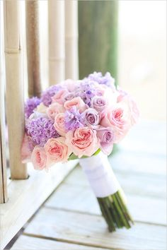 Pink and purple wedding bouquet by Avant Gardens Miami featured on Wedding Chicks
