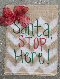 Christmas Garden Flag White Chevron With A Red Mesh Bow!