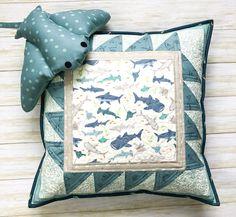 Shark teeth pillow by top US sewing blog Ameroonie Designs. | Fabric: Riptide by Citrus & Mint Designs for Riley Blake Designs Tooth Pillow, Tooth Fairy Pillow, Diy Embroidery Floss Organizer, Diaper Bag Tutorials, Shark Pillow, Mug Rug Tutorial, Fat Quarter Quilt, Pinking Shears, Sewing Blogs