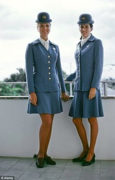 Two elegant Pan Am air hostesses in the 1970s.