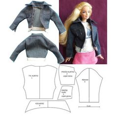 how to knit a barbie doll sweater . Sewing Barbie Clothes, Barbie Dolls Diy, Barbie Sewing Patterns, Doll Dress Patterns, Barbie Dress, Dolls Dolls, Girl Dolls, Diy Clothes Patterns, Shirt Patterns