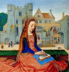 Dramatic surcote with what appears to be an attached cape. [A reinforced noble stone and an imposing house with gable form the backdrop for this praying saint Katharina. Thumbnail (detail) by Simon Bening and studio in the Hortulus Animae, 1517-23. Vienna, Österreichische National-Bibliothek, Cod. 2706, fol. 608]