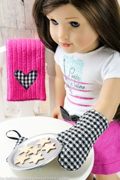 Sew an oven mitt, hot pad and towel for dolls- instructions are included.