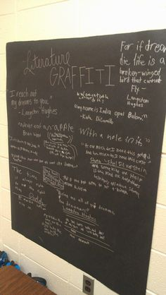 Literature graffiti - hang black paper in the classroom with a silver Sharpie, and encourage kids to write down their favorite quotes from books you read (or they read on their own) throughout the school year. (I'm not a teacher, but I totally want to do this at home with my kids!)