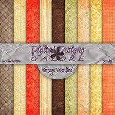 Vintage Valentine Digital Paper Pack Set by DigitalDesignsGalore, $3.99