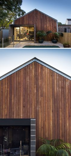 This modern wood-covered garage provides plenty of storage for the home owners large collection of outdoor sporting goods.