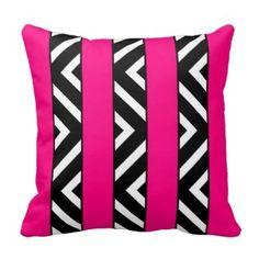Shop Modern Bright Neon Pink Stripes Monochrome Chevron Cushion created by girly_trend. Custom Pillows, Decorative Pillows, Modern Wedding Gifts, Chevron Throw Pillows, Zig Zag Pattern, Pink Patterns, Pink Stripes, Monochrome, Neon