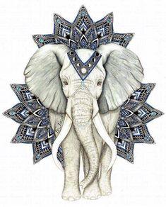 Dessin d'un éléphant avec les parures de l'Inde.