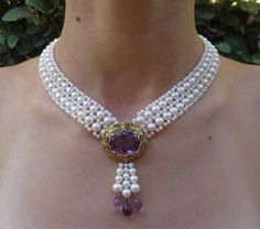 Pearl Woven Necklace with Amethyst Centerpiece image 6