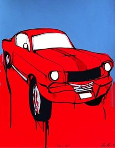 """JASPER KNIGHT """"Red 65"""" (Mustang Car) Original Acrylic on Card - Framed. Image Size: 82cm x 101cm Frame Size: 92cm x 111cm (Housed in Black Gallery Frame - Beautiful) 65 Mustang, Work In Australia, Perspective Art, Old Signs, High Art, Frame Sizes, Artist At Work, Art Lessons, Jasper"""
