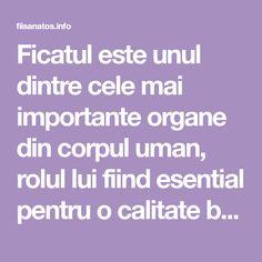 Ficatul este unul dintre cele mai importante organe din corpul uman, rolul lui fiind esential pentru o calitate buna a vietii. Cand acest organ incepe sa nu