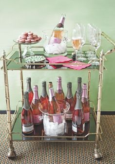 Pink Champagne Bar Cart - great for New Years or a baby shower!