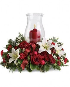 Christmas flower bouquet with candle