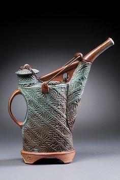 Title: Soda-Fired Green Ewer Artist: Vince Pitelka