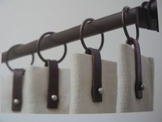 Gardinen Drapery leather pulls Tropical Home Decor 2 Article Body: Who wouldn't love to have their h Curtains With Blinds, Drapes Curtains, Valances, Shower Curtains, Drapery Designs, Drapery Ideas, Drapery Styles, Curtain Headings, Drapery Hardware
