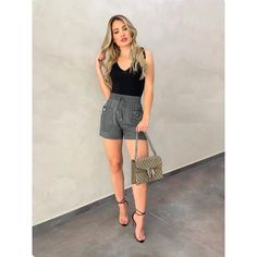 Shorts Viscose, Looks Com Short, Looks Style, My Style, Vacation Outfits, Uni, Must Haves, Fall Winter, Street Style
