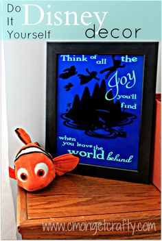 Create Cute Disney Decor in Under an Hour - - In under 30 minutes, I was able to whip up a neat, classic Disney Peter Pan framed art piece for my son's bedroom. What kind of Disney decor do you like? Disney Home Decor, Disney Diy, Disney Crafts, Cute Disney, Disney Decorations, Disney Theme, Diy Craft Projects, Diy Crafts For Kids, Kids Diy