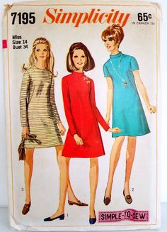 Vintage 1960s A Line Dress Pattern Simplicity 7195 Bust 34