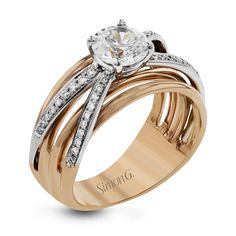 LR1040-Simon G. white and rose gold and diamond engagement ring