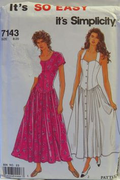 Simplicity 7143 Misses' Dresses with Sleeve and Neckline Variations