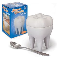 Sweet Tooth Sugar Bowl - A sweet tooth is the perfect spot to store your sugar!