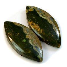 9Ct Natural Rhyolite Rainforest Jasper (20mm X 9mm each) Cabochon Pair #sonatona