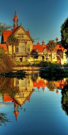 Reflections of Colourful Rotorua Museum - NZ. Has our wedding photos taken here...
