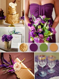 Purple, green and gold wedding