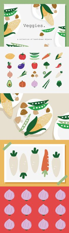 Veggies Icons by Prangtip F. on @creativemarket