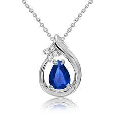 Sapphire & Diamond Pear Pendant in 14k White Gold