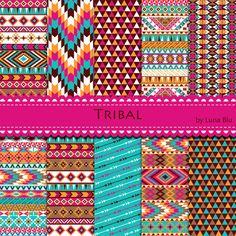 Tribal Digital Paper. Colorful Tribal Patterns by Lunabludesign, $4.85