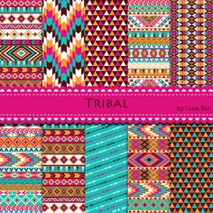 Tribal Digital Paper. Colorful Tribal Patterns by Lunabludesign, $4.85