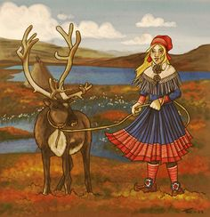 A Sami girl. Yay for miraculously alive tablets! Where Cold Winds Blow Pictures To Paint, Painting Pictures, Lappland, Samar, Traditional Outfits, Reindeer, Character Art, Folk Art, Scandinavian