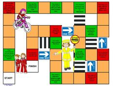 Rainbow Snake & Ladders Road Safety  email blagdonrainbows@hotmail.com  for the details in a word doc  Play like snakes & ladders up a zebra crossing or down a one way sign